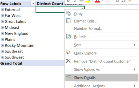 show details pivottable cell