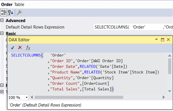 default details rows expression