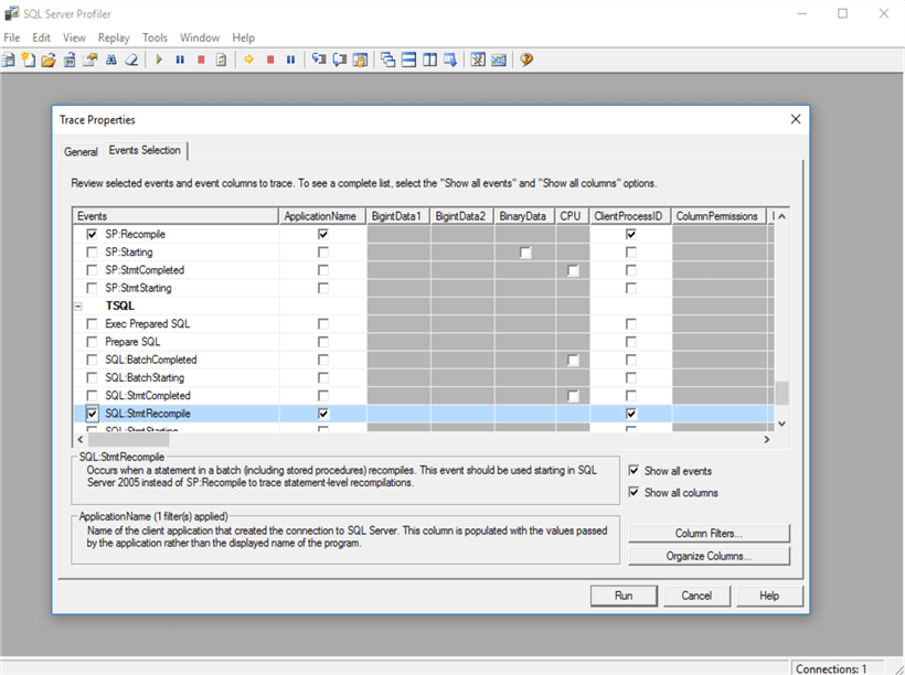 SQL Server Profiler which is capturing event of Query Recompilation.