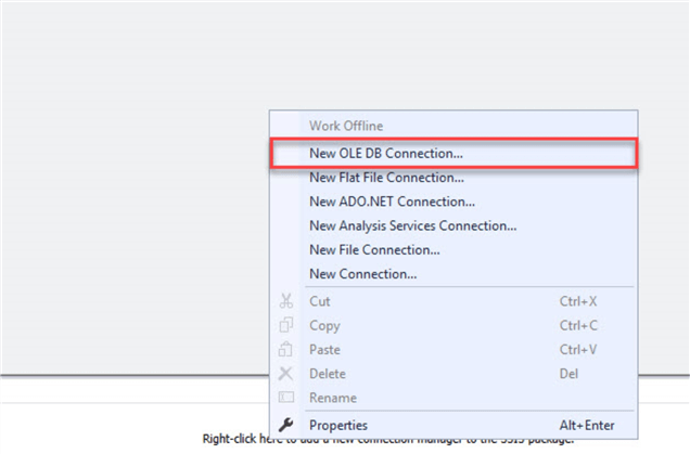 ssis new ole db connection