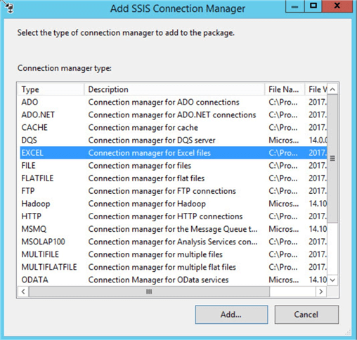 ssis add connection manager