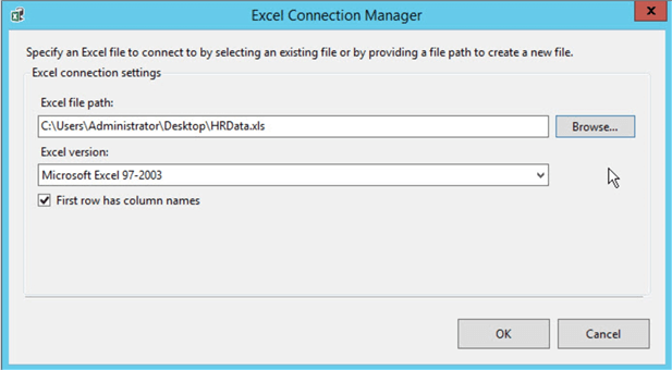 ssis excel connection manager