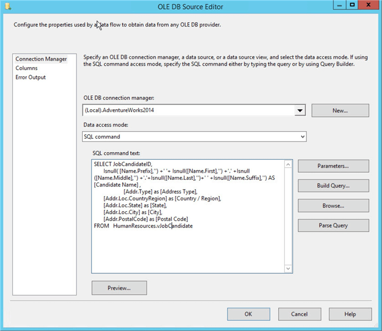 ssis ole db source editor