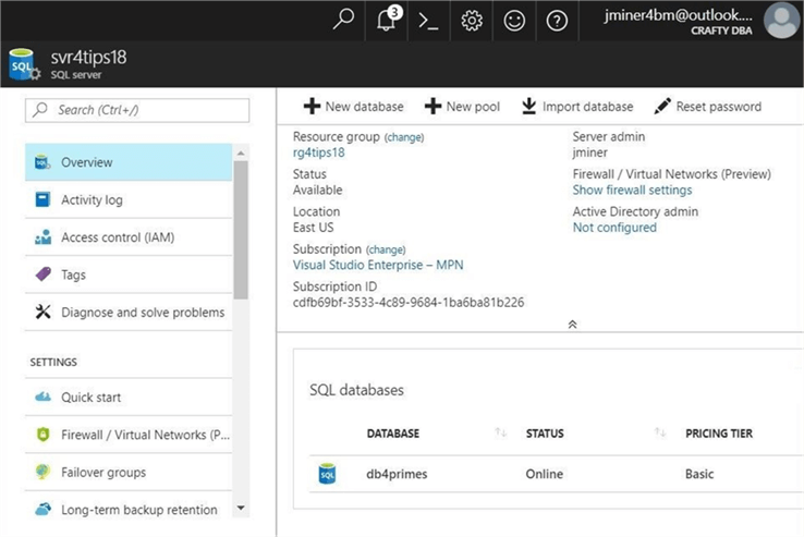 SQLDB Alerting - sample database - Description: Here is a screen shot of the server and database taken from the azure portal.