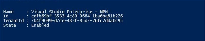 Table Storage - Azure Subscription - Description: My subscription seen from the Power Shell ISE.