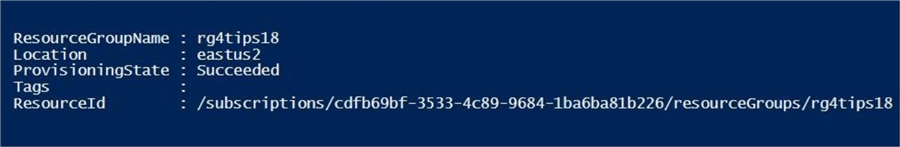Table Storage - Azure Resource Group - Description: Create new resource group via PowerShell ISE.