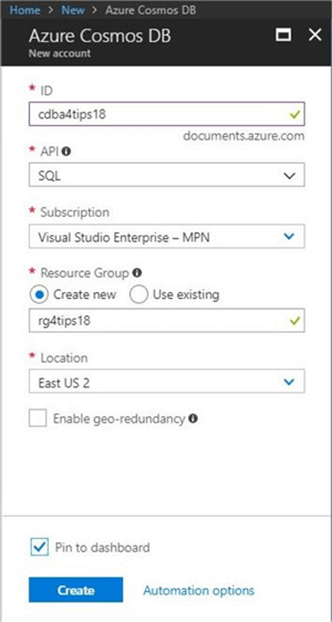 Cosmos DB - New Database Account - Description: Creating a new database account and resource group via the Azure Portal.
