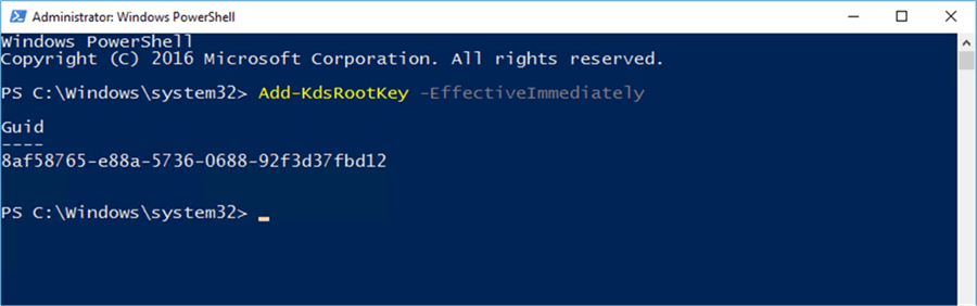 Add-KDSRootKey - Description: If no KDS Root Key exits, add one.