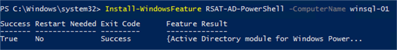 Install AD PowerShell - Description: Installation of AD PowerShell RSAT Module.
