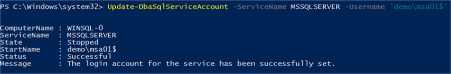 Setting Service Account with PowerShell - Description: Using DBATools PowerShell module to set service account properties.