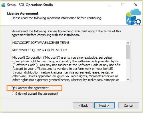 Microsoft SQL Operations Studio Installation agreement accept