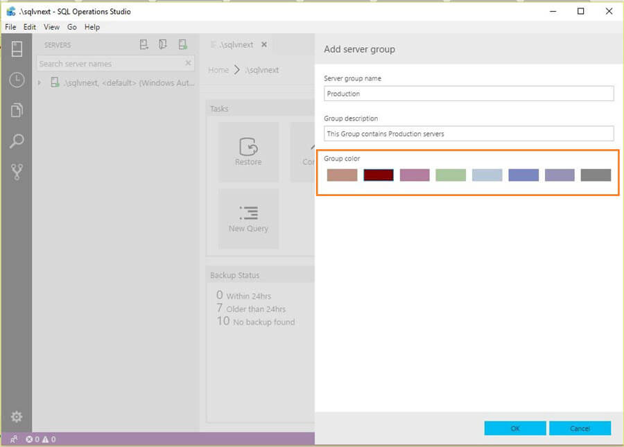 Microsoft SQL Operations Studio group color and details