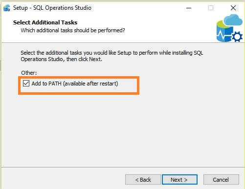 Microsoft SQL Operations Studio Installation PATH