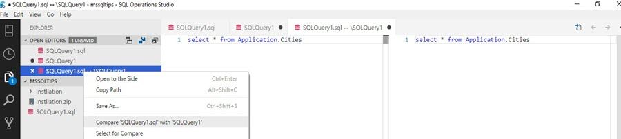 Microsoft SQL Operations Studio compare files