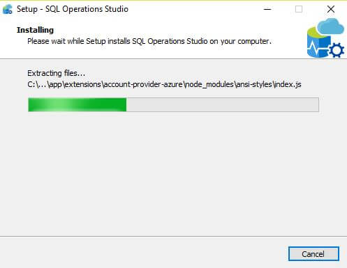 Microsoft SQL Operations Studio Installation PATH view
