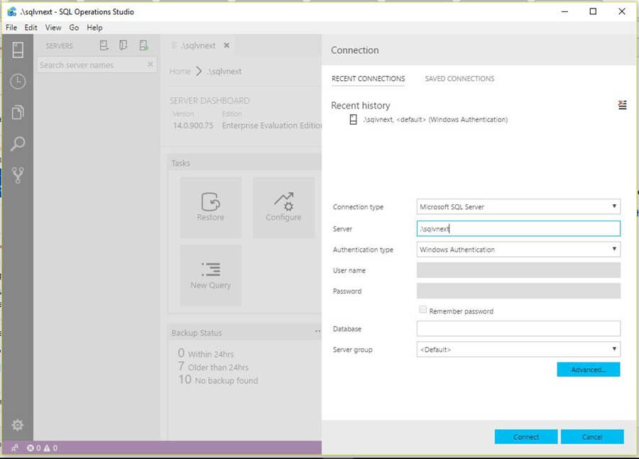 Microsoft SQL Operations Studio launch screen
