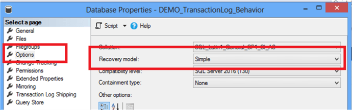 sql server database properties recovery model