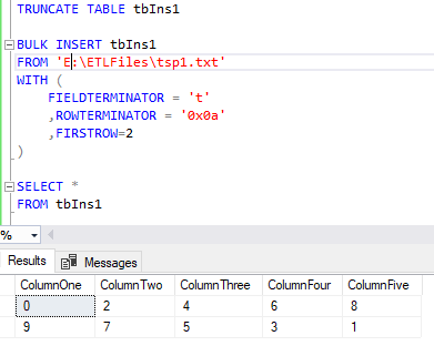 Non-Standard Delimiters for Columns and Rows Using SQL Server Bulk
