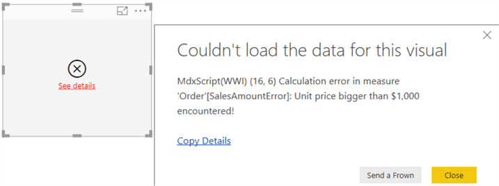 error in Power BI Desktop