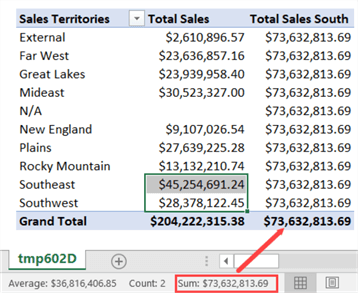 IN operator in PivotTable