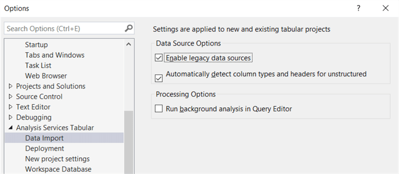 enable legacy data source through options