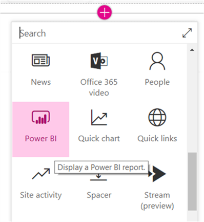 Select Power BI web part