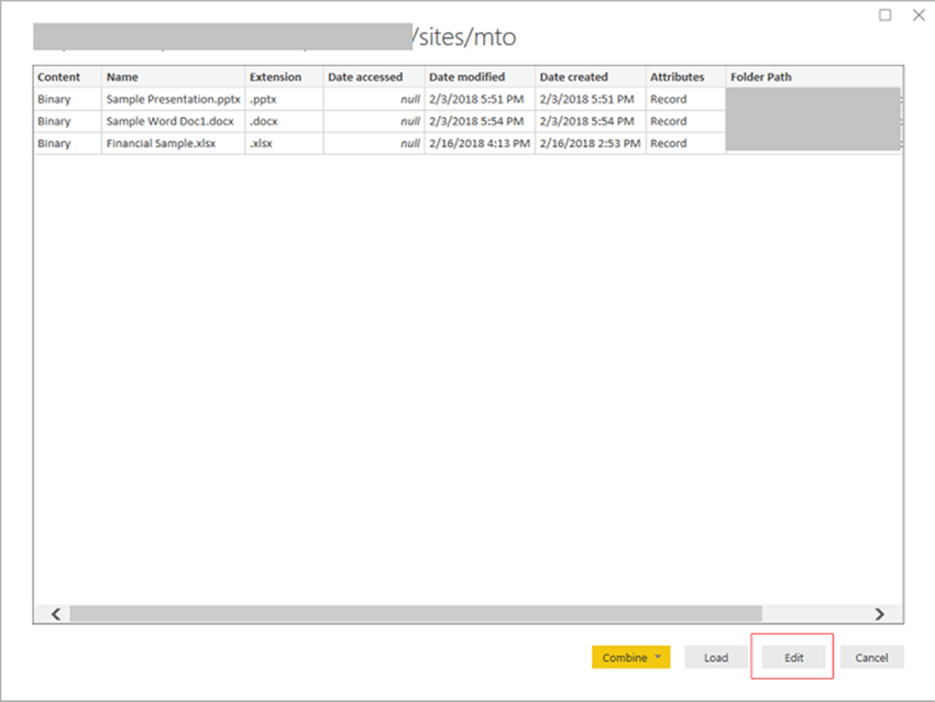Create Power BI Reports from a SharePoint Online Library
