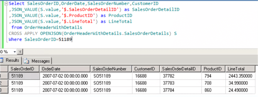 Transforming JSON Data to Relational Data in SQL Server 2016
