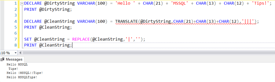 clean string with TRANSLATE