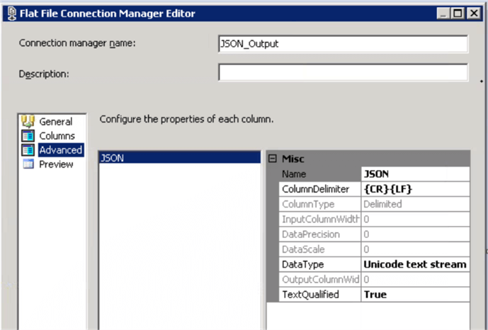 ssis Flat File Connection Manager