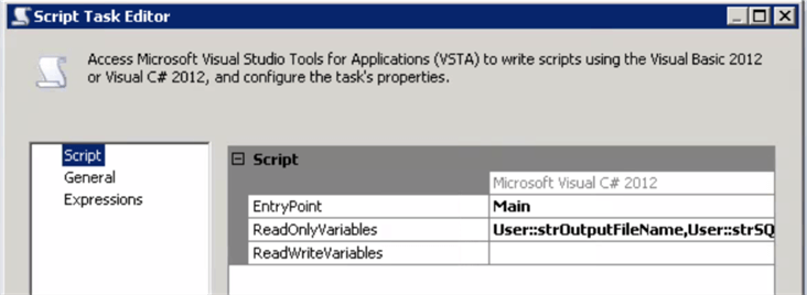 ssis Variables Configuration for Script Task