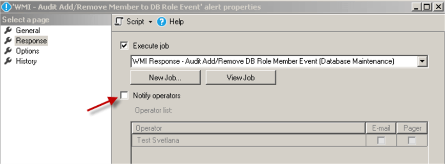 Alert to Respond to the Database Roles Add/Remove User Events - response