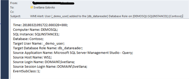 User added to the database role email