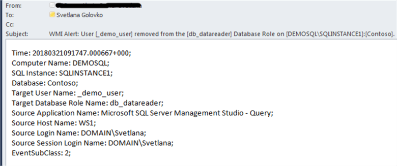 User removed from the database role email