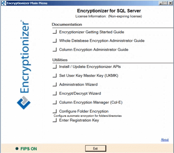 encryptionizer main menu