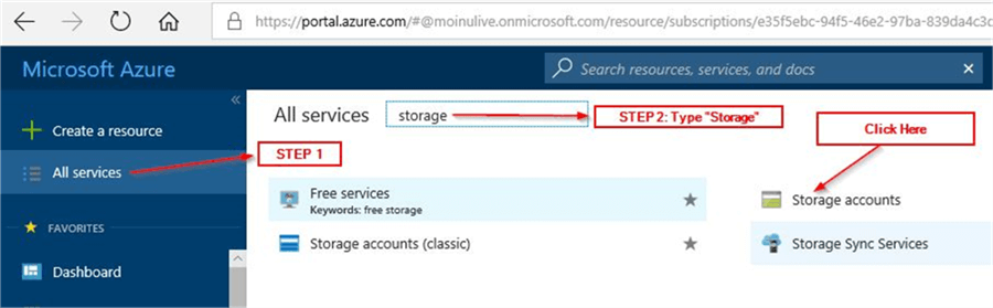 Azure file share - go to Storage Accounts