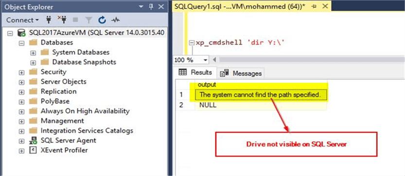 Drive not visible to SQL Server