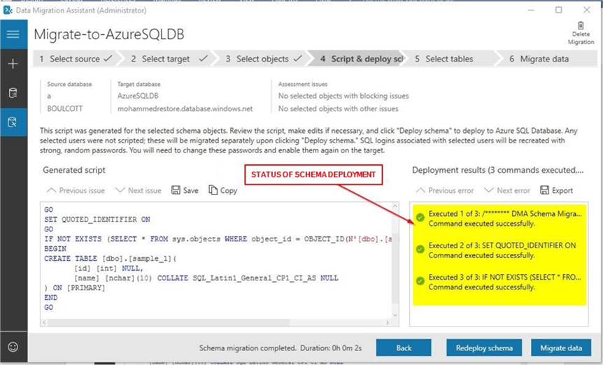 Using the Data Migration Assistant (DMA) tool to migrate