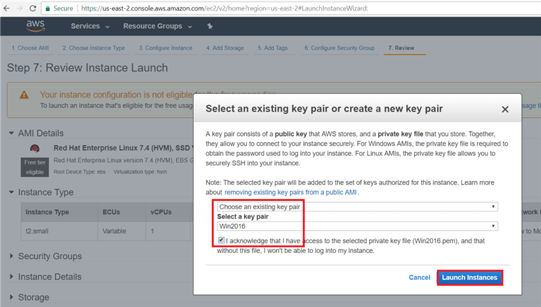 On select an existing key pair or create a new key pair dialog box click on create a new key pair or select an existing key pair and give key pair name and click on download to download key Pair. Here I have already downloaded and I am acknowledging that I have access to the selected private key files. (save the key pair in secured location). Hit launch instance.