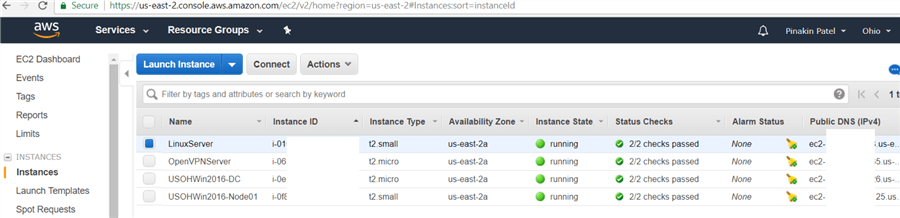 On Instances page the Instance is initialized the status will be shown as passed and AWS Instance is up and running.