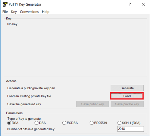 On the PuTTYgen dialog box, click on load and locate the file and select the .pem files which you download from AWS. When you build up the EC2 instance. Earlier I have Win2016.pem to load and convert into (Dot) PPK file.