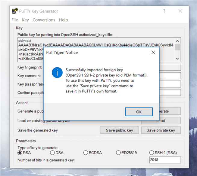 On the PuTTYgen dialog box, the Pem file has successfully loaded; as the message indicates click Ok to save the file.