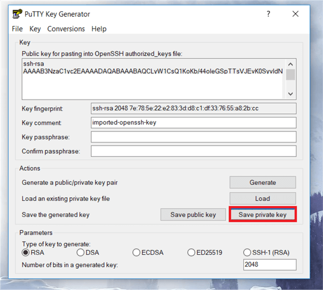 "On the PuTTYgen dialog box, click on ""Save private key� to save file with PPK format."