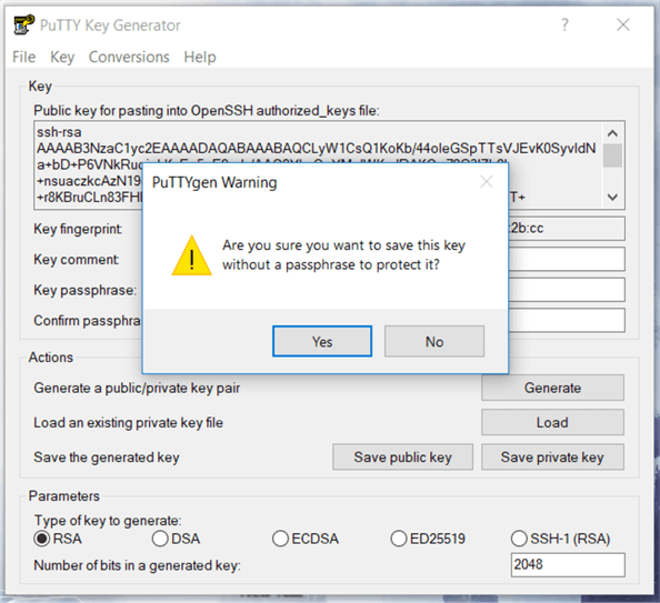 You will get a warning messages as below weather you want to save the key without a passphrase or not, select Yes and give a key  name for your ppk file and click save.