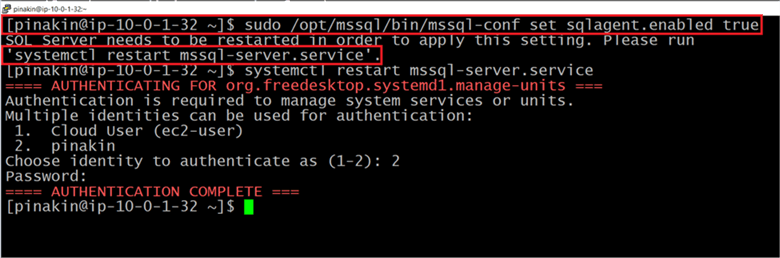 To use SQL Server Agent on Linux, you must first need to enable the SQL Server Agent on a machine that already has SQL Server 2017 installed. To enable the SQL Server agent we will run below command. Once the SQL agent is enable you need to restart the mssql-server.service follow by that you need to provide the authentication along with password. For more information click here - Description: To use SQL Server Agent on Linux, you must first need to enable the SQL Server Agent on a machine that already has SQL Server 2017 installed. To enable the SQL Server agent we will run below command. Once the SQL agent is enable you need to restart the mssql-server.service follow by that you need to provide the authentication along with password. For more information click here