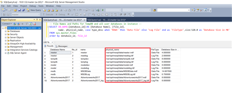 On the SSMS query window we can see that all database default physical file location along with file type and database size in MBs. - Description: On the SSMS query window we can see that all database default physical file location along with file type and database size in MBs.