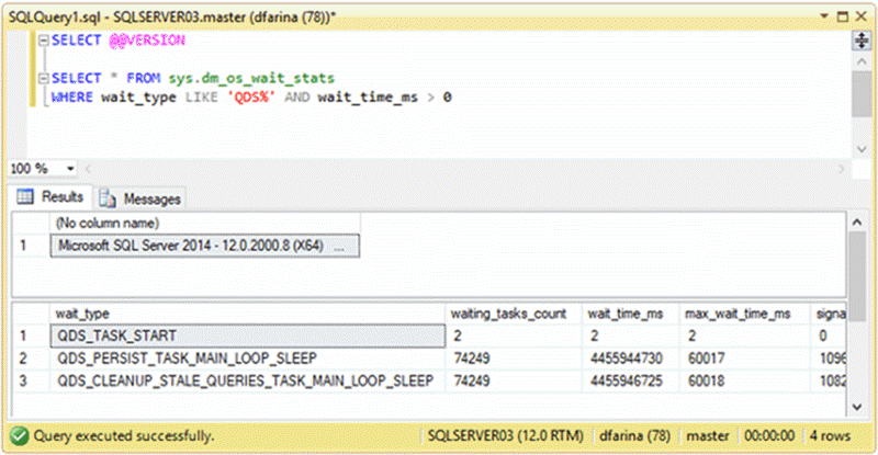 Screen Capture - Description: Query Store wait types on SQL Server 2014 RTM.
