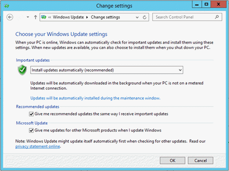 Screen Capture - Description: Windows Update GUI.