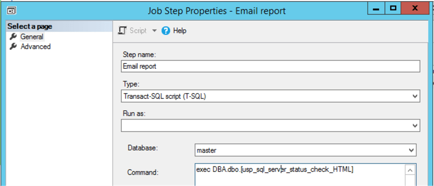 job step properties