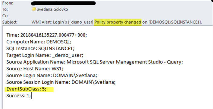 Automated WMI Alerts for SQL Server Login Property Changes